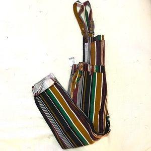 NWT BDG Multi Striped Slim Fit Overalls XS